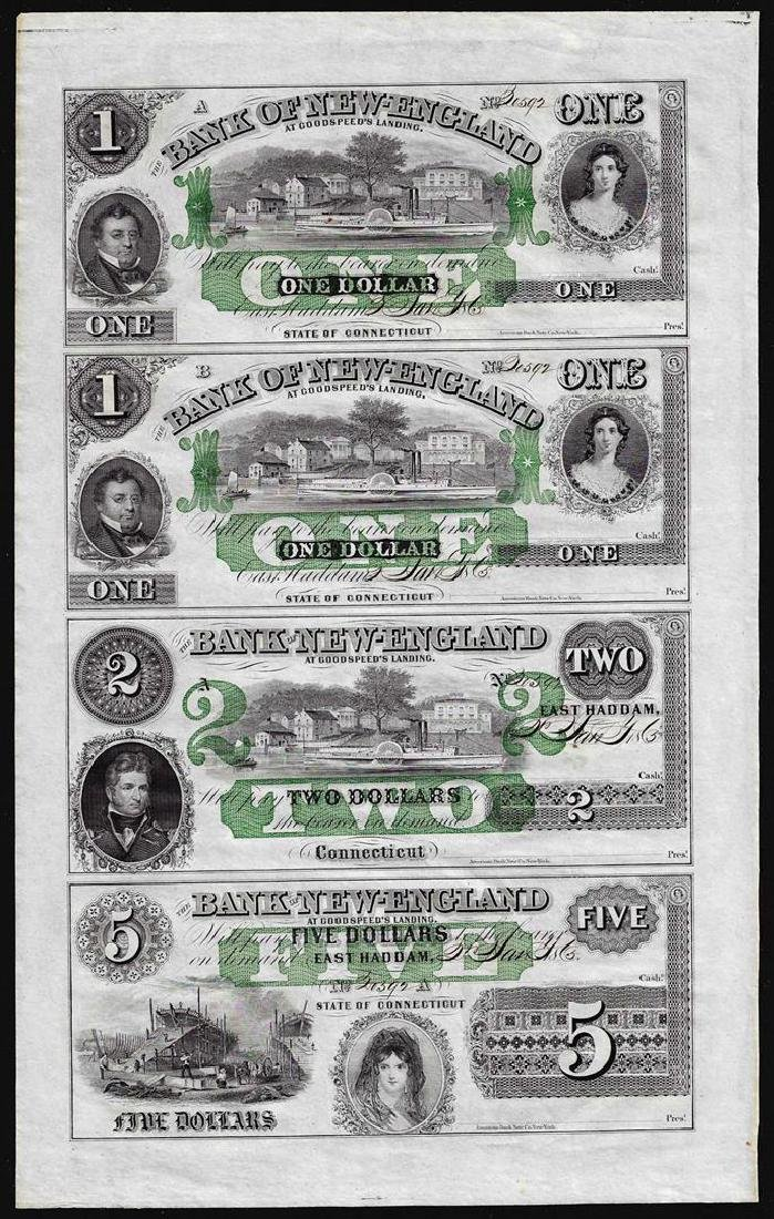 Uncut Sheet of Bank of New-England Obsolete Notes