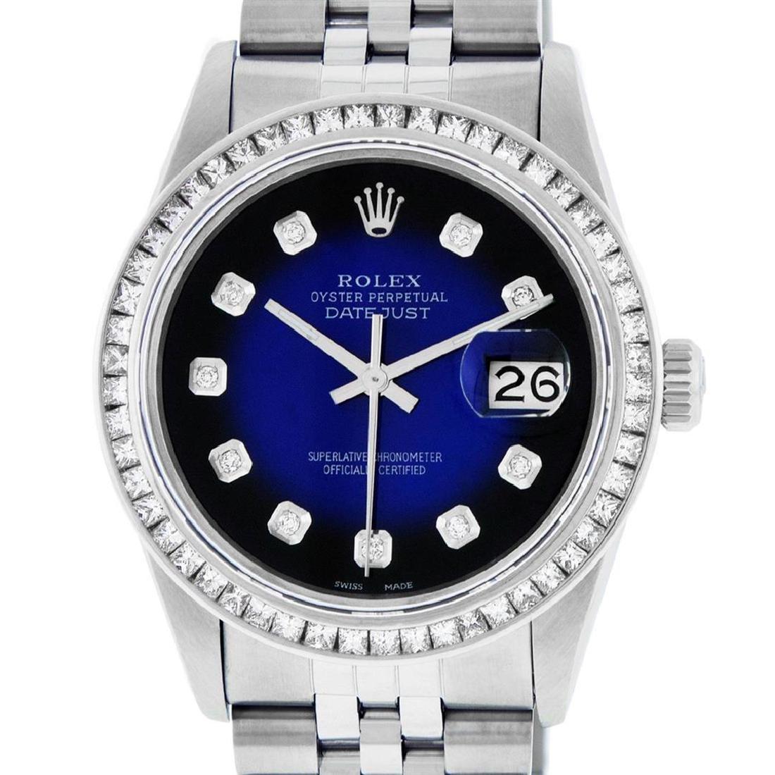 Rolex Men's Stainless Steel Blue Vignette Princess Cut
