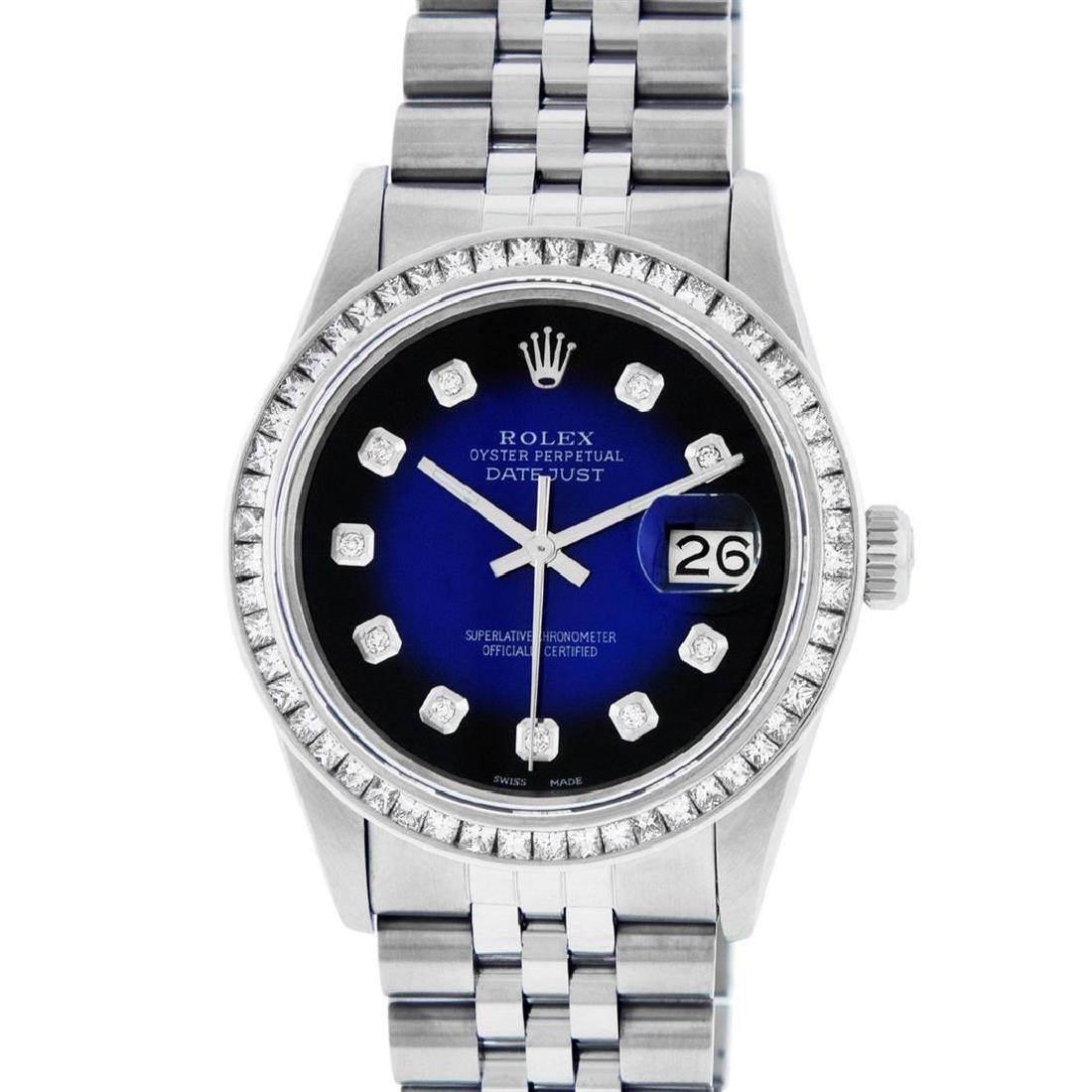 Rolex Men's Stainless Steel Blue Vignette Princess Cut - 2