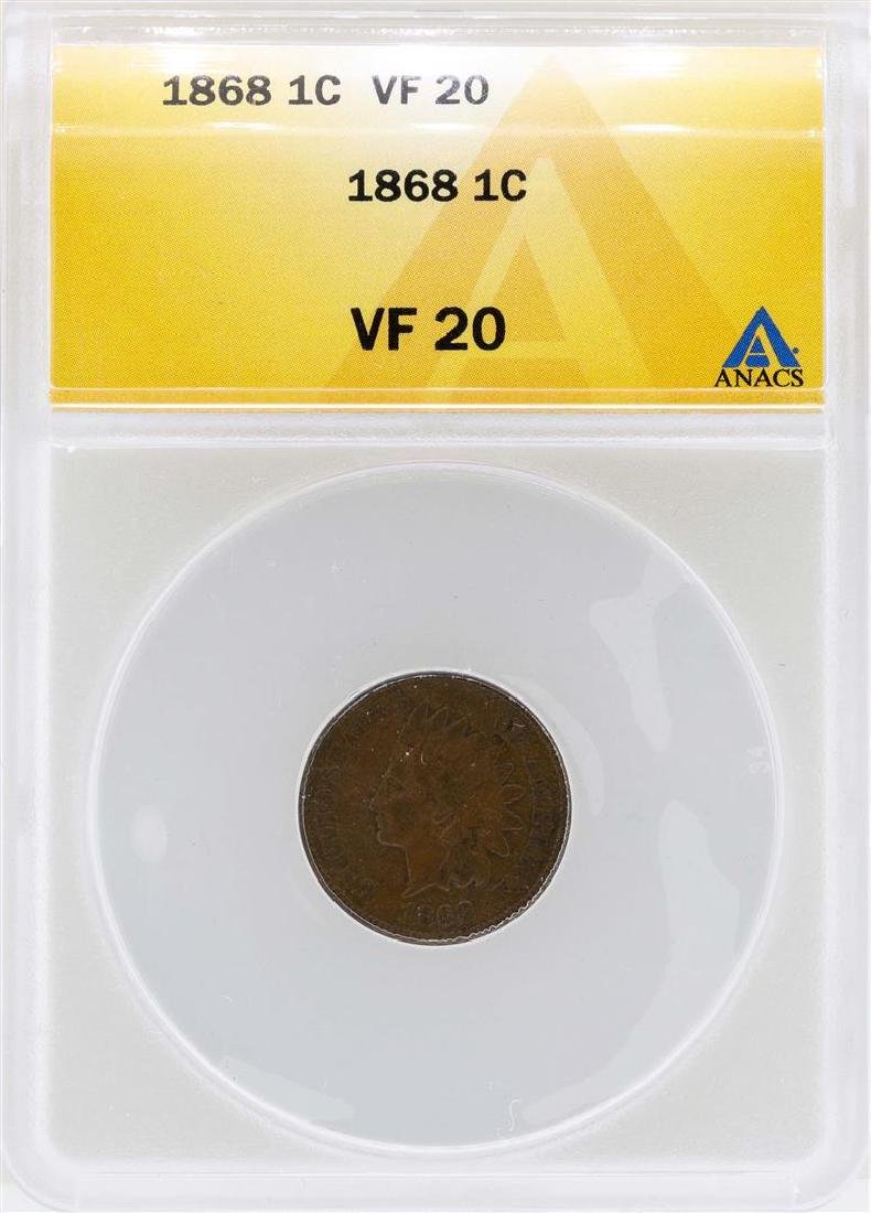 1868 Indian Head Cent Coin ANACS VF20