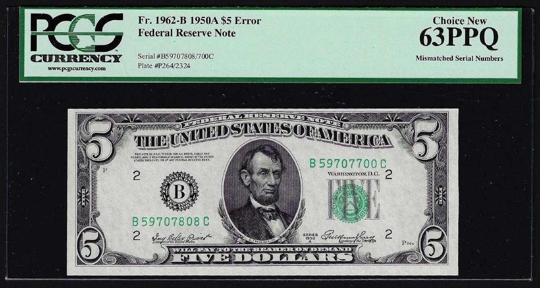 1950A $5 Federal Reserve Note Mismatched Serial Number