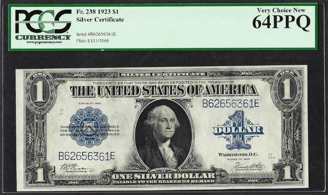 1923 $1 Silver Certificate Note Fr.238 PCGS Very Choice