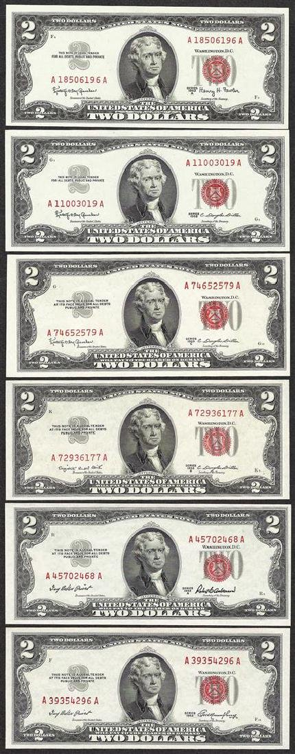 Lot of (6) 1953/1963 $2 Legal Tender Notes Uncirculated