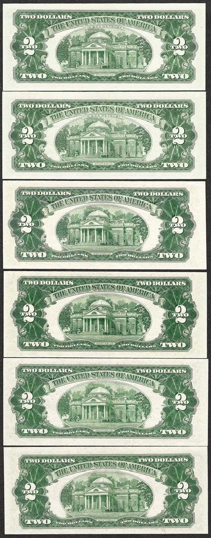 Lot of (6) 1953/1963 $2 Legal Tender Notes Uncirculated - 2