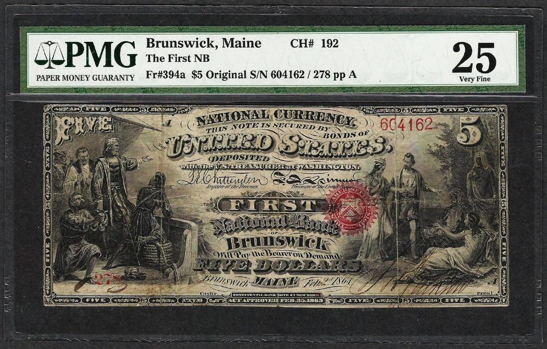 First Series $5 First NB of Brunswick, Maine CH# 192
