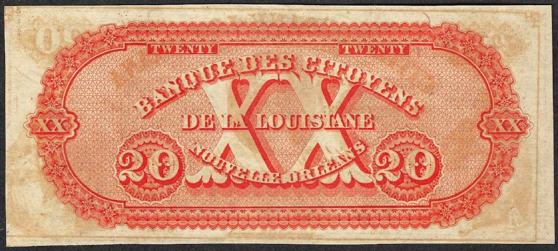 1800's $20 Citizens Bank of Louisiana Obsolete Note - 2