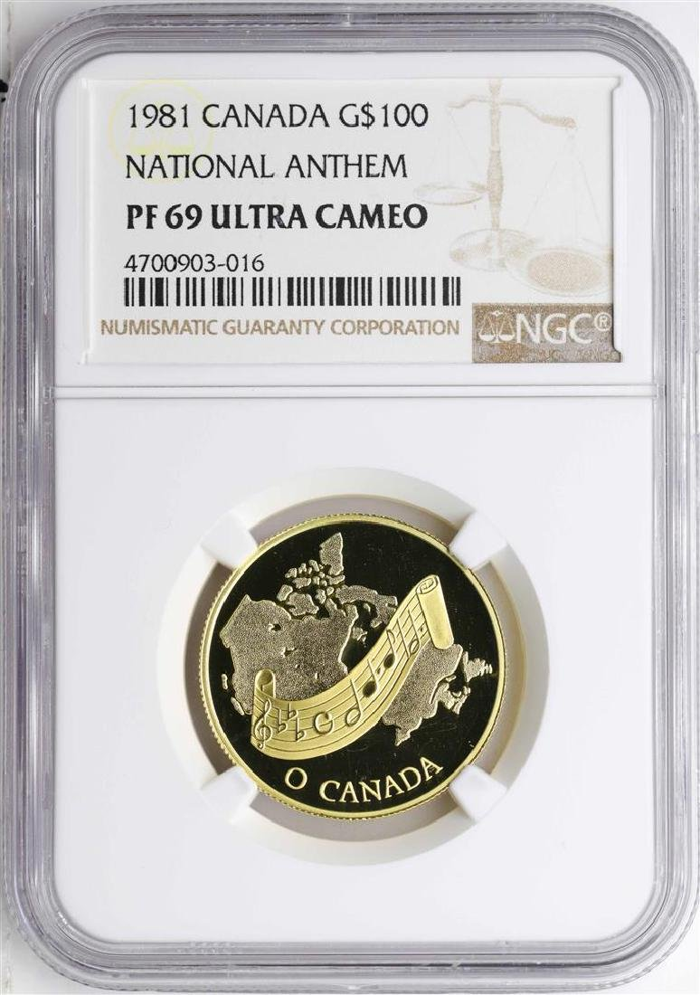 1981 Canada $100 National Anthem Gold Coin NGC PF69