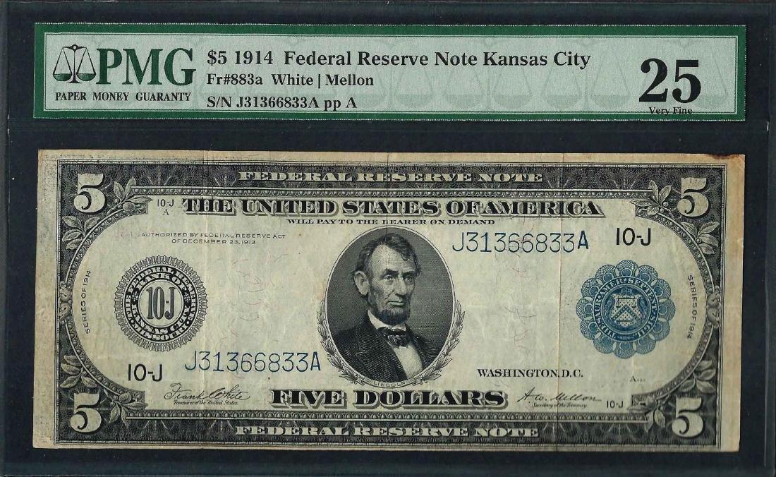 1914 $5 Federal Reserve Note Kansas City Fr.883a PMG