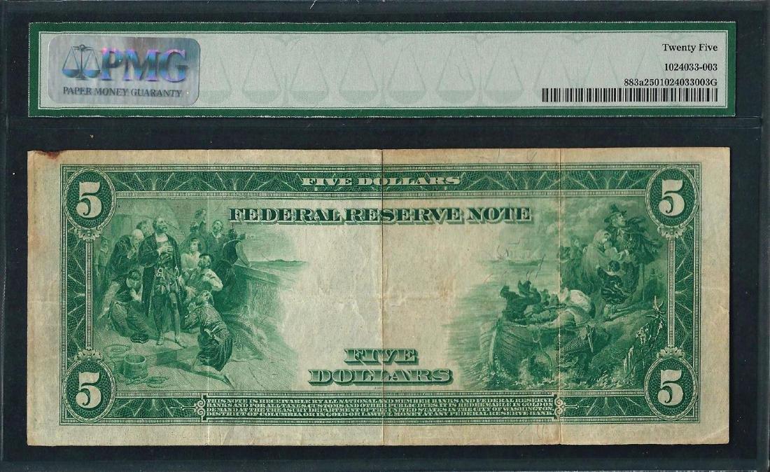 1914 $5 Federal Reserve Note Kansas City Fr.883a PMG - 2