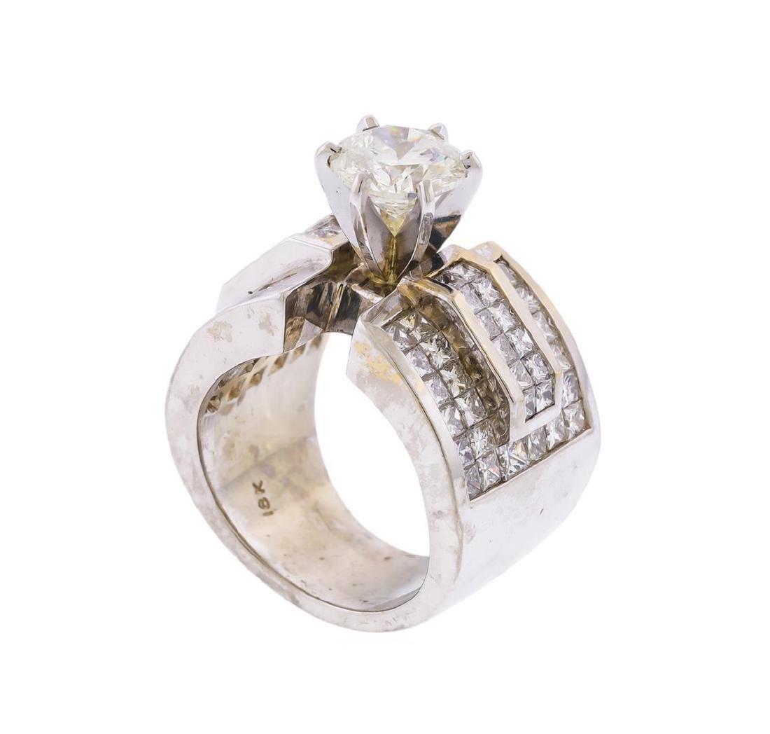 18KT White Gold 5.63 ctw Diamond Engagement Ring - 3