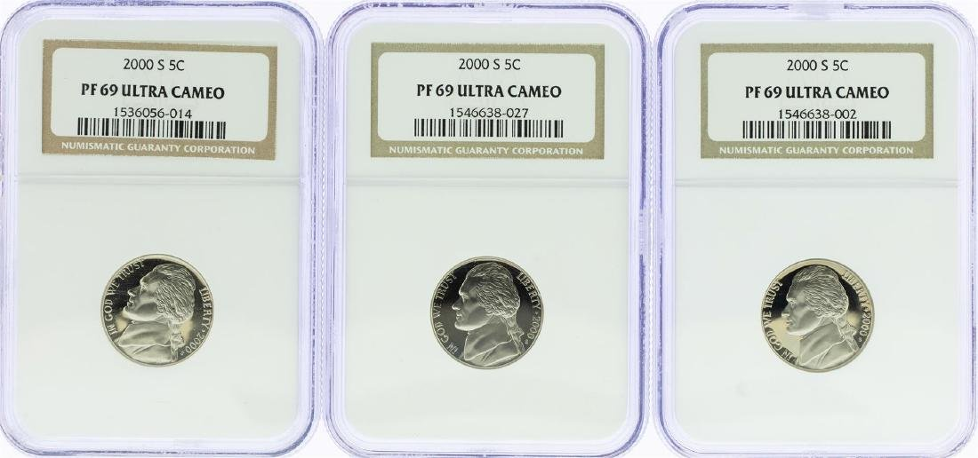 Lot of (3) 2000-S Jefferson Nickel Coins NGC PF69 Ultra