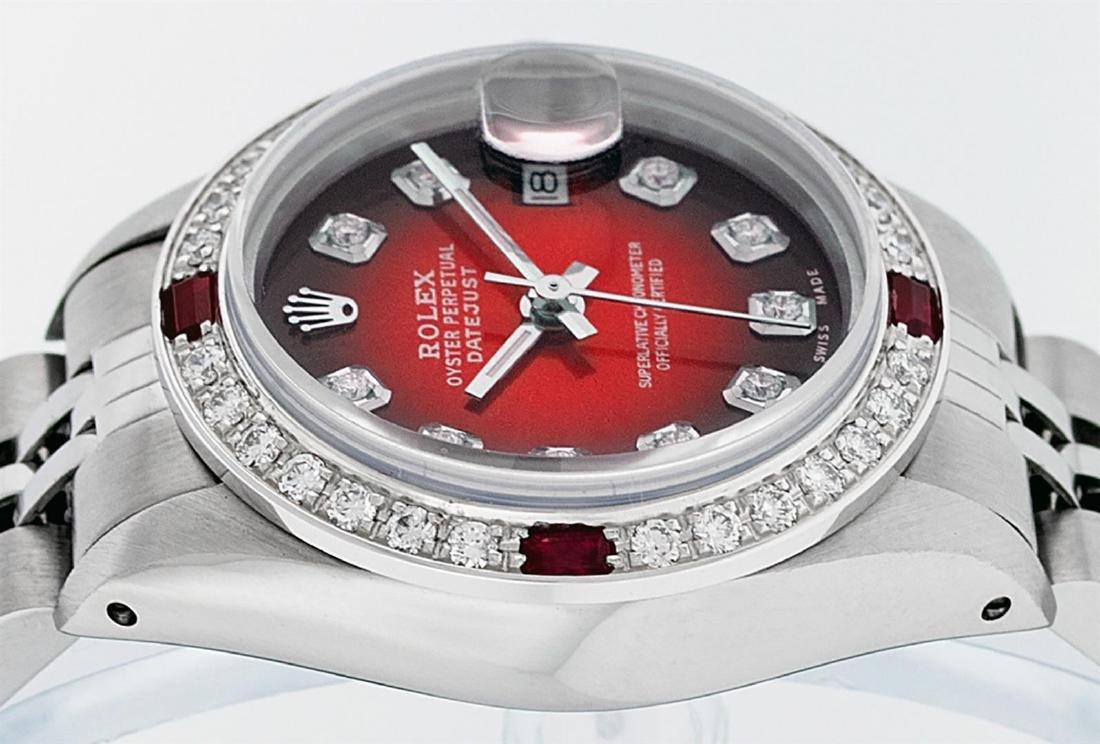 Rolex Ladies Stainless Steel Red Vignette Diamond & - 4