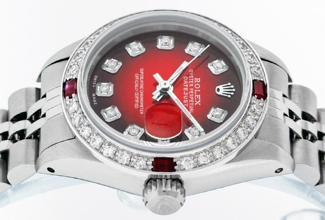 Rolex Ladies Stainless Steel Red Vignette Diamond & - 5