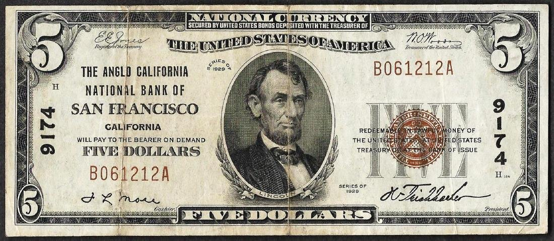 1929 $5 Anglo California NB of San Francisco, CA CH#