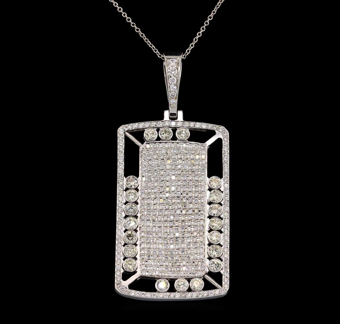 14KT White Gold 5.62 ctw Diamond Pendant with Chain - 2