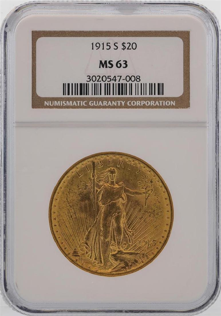 1915-S $20 St. Gaudens Double Eagle Gold Coin NGC MS63