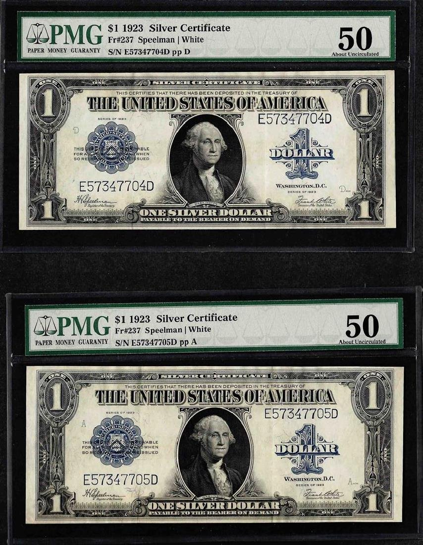 Lot of (2) Consecutive 1923 $1 Silver Certificate Notes