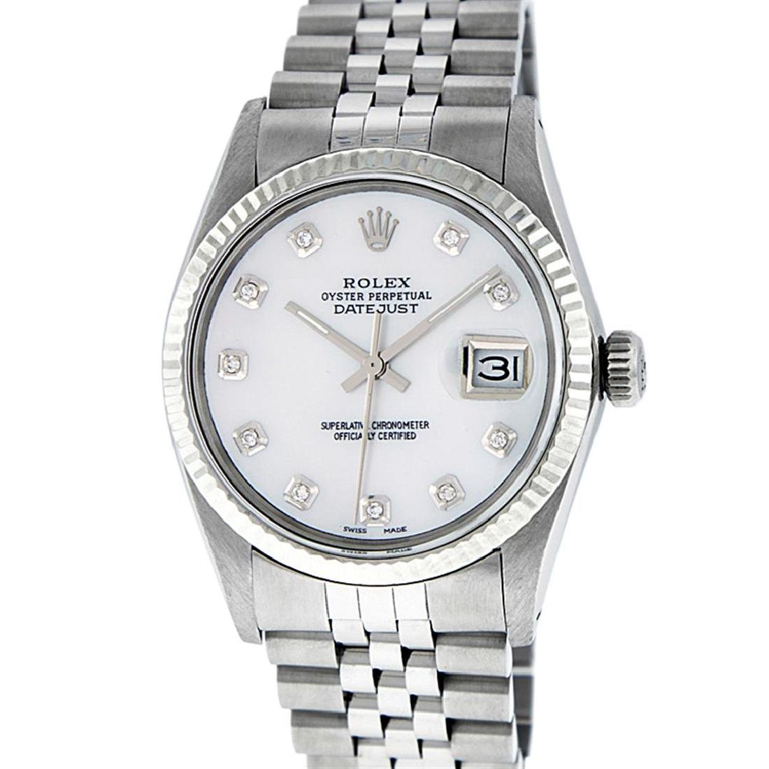 Rolex Men's Stainless Mother Of Pearl Diamond 36MM
