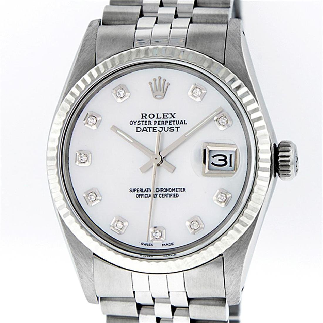 Rolex Men's Stainless Mother Of Pearl Diamond 36MM - 2