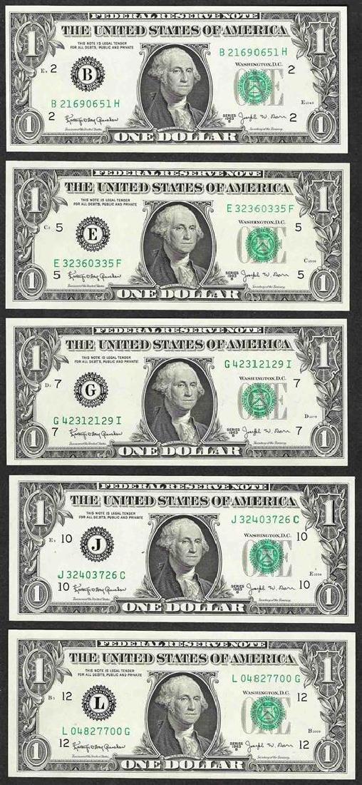 District Set of 1963B $1 Federal Reserve BARR