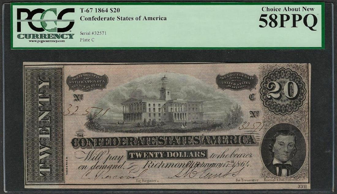 1864 $20 Confederate States of America Note T-67 PCGS