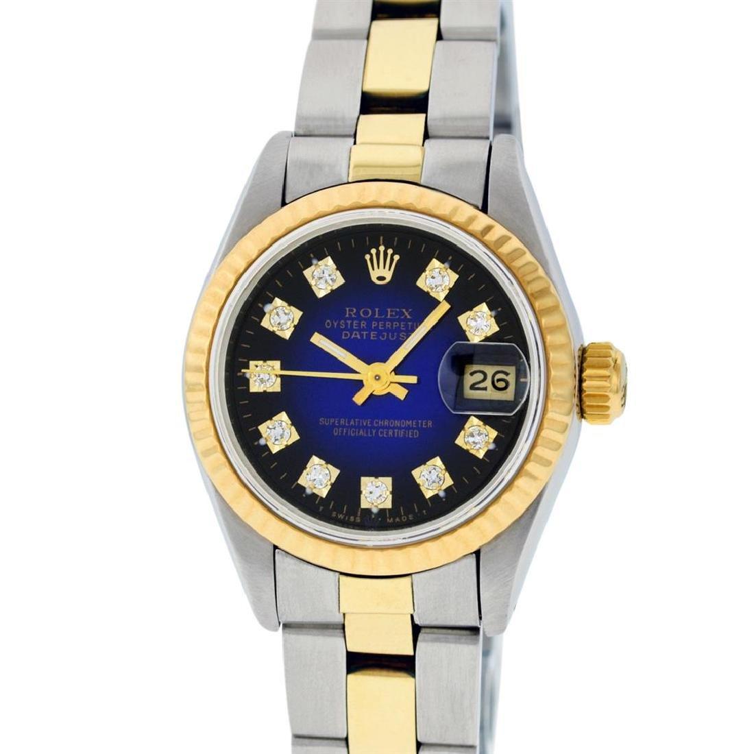 Rolex Ladies Two Tone 14K Blue Vignette Diamond - 2