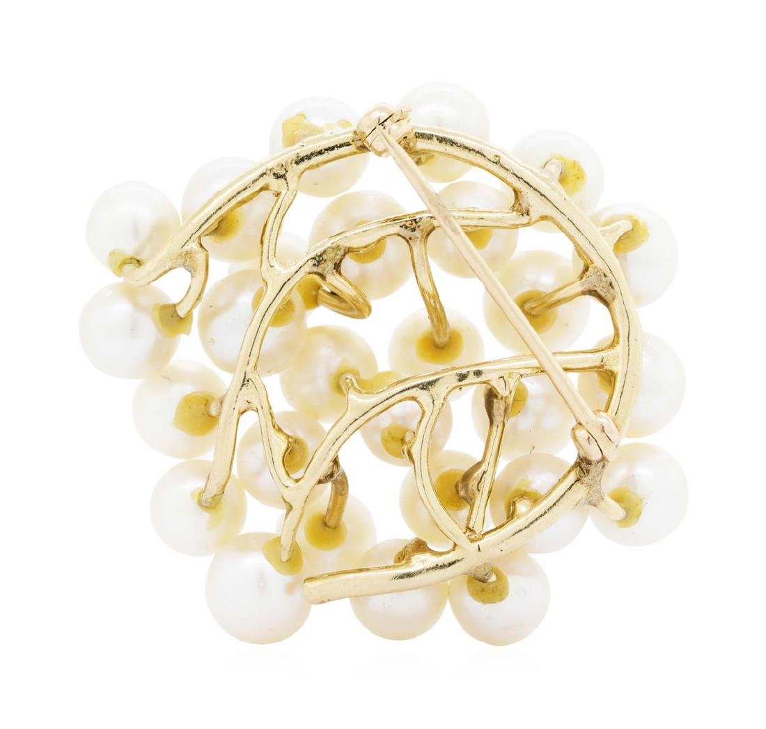 14KT Yellow Gold Pearl Brooch - 2