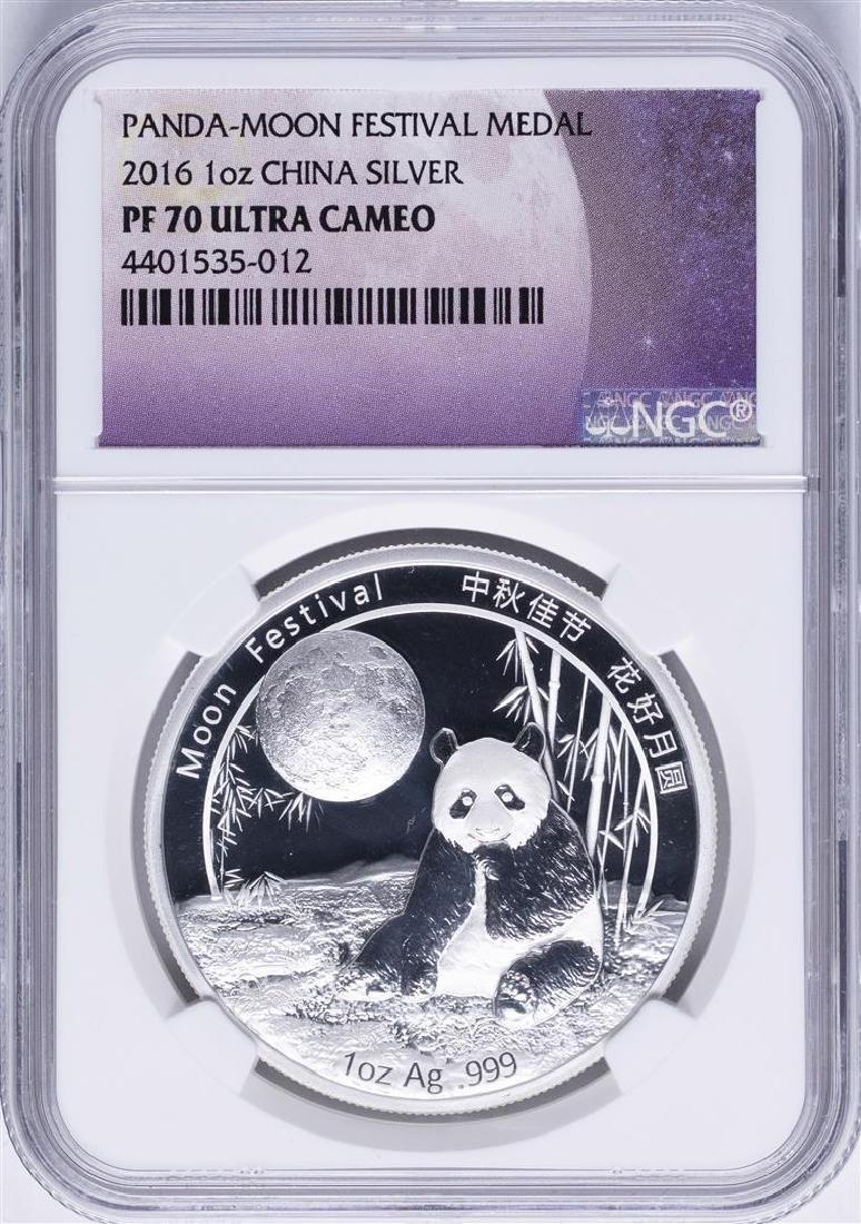 2016 1oz. China Silver Panda-Moon Festival Medal NGC