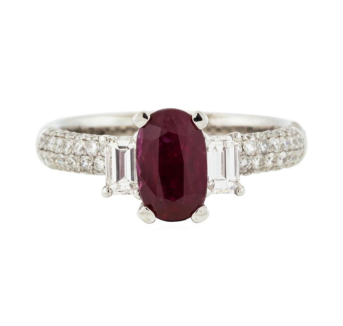 18KT White Gold 1.30 ctw Ruby and Diamond Ring