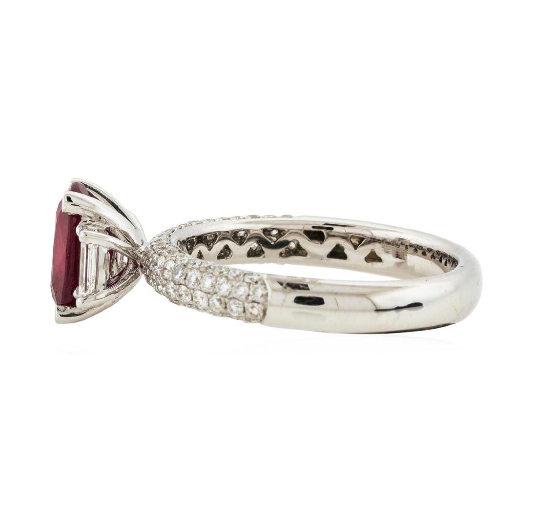 18KT White Gold 1.30 ctw Ruby and Diamond Ring - 3