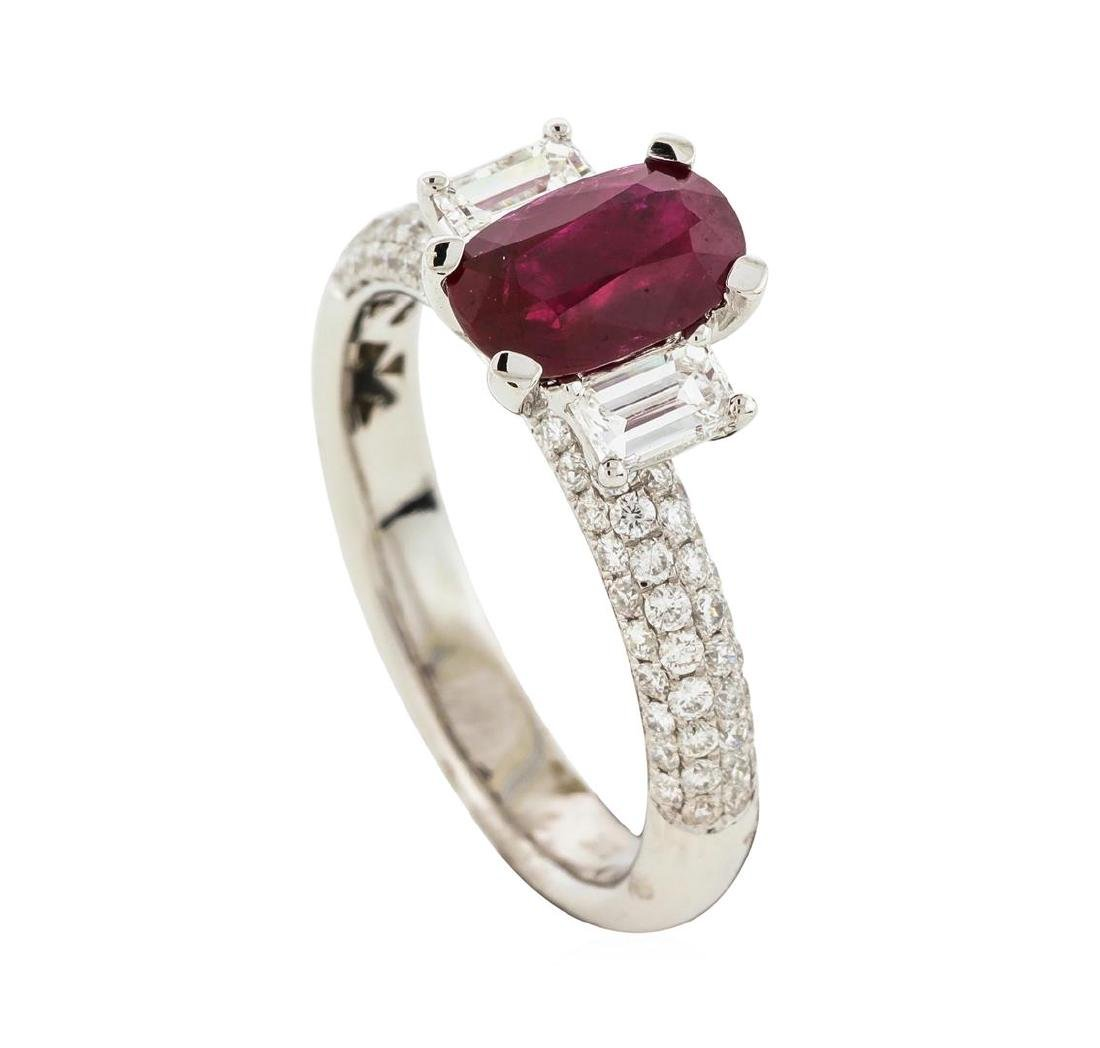 18KT White Gold 1.30 ctw Ruby and Diamond Ring - 4