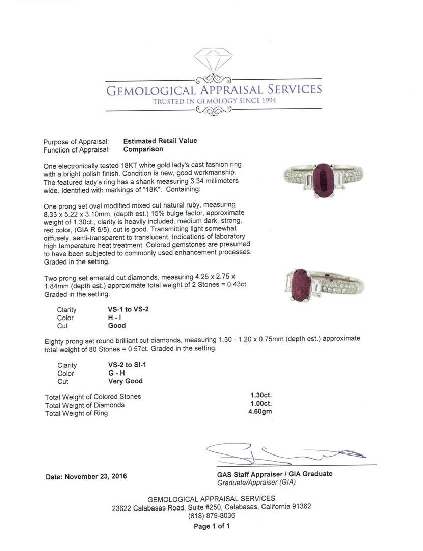 18KT White Gold 1.30 ctw Ruby and Diamond Ring - 5