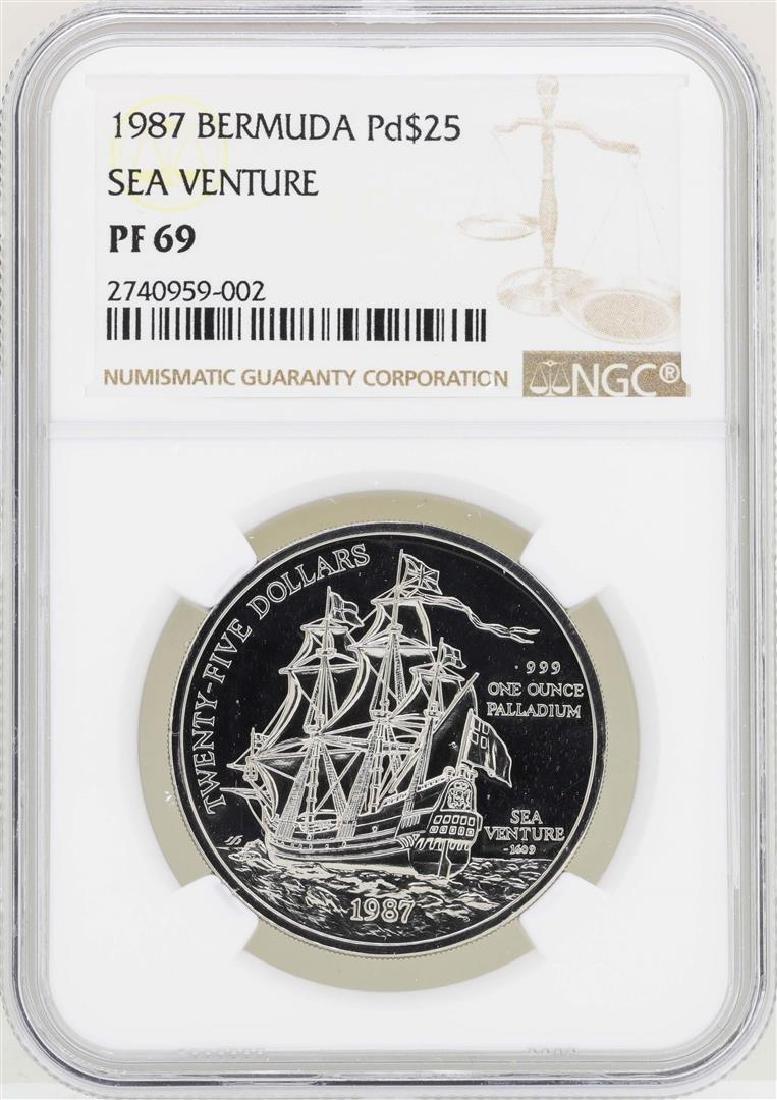 1987 Bermuda $25 Palladium Sea Venture Coin NGC PF69