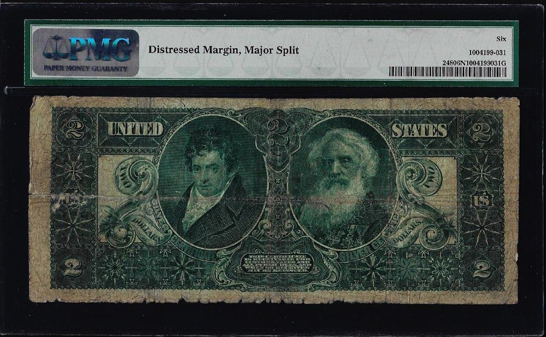 1896 $2 Educational Silver Certificate Note Fr.248 PMG - 2