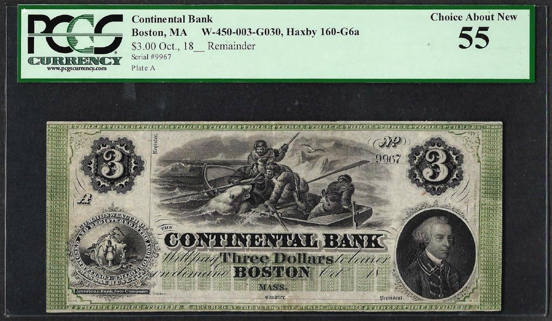 1800's $3 'Polar Bear' Continental Bank Boston Obsolete