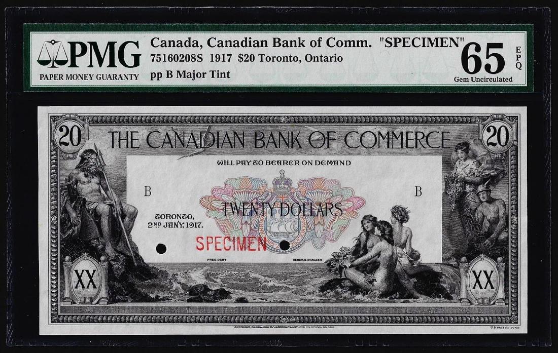 1917 $20 Canadian Bank of Commerce SPECIMEN Note PMG