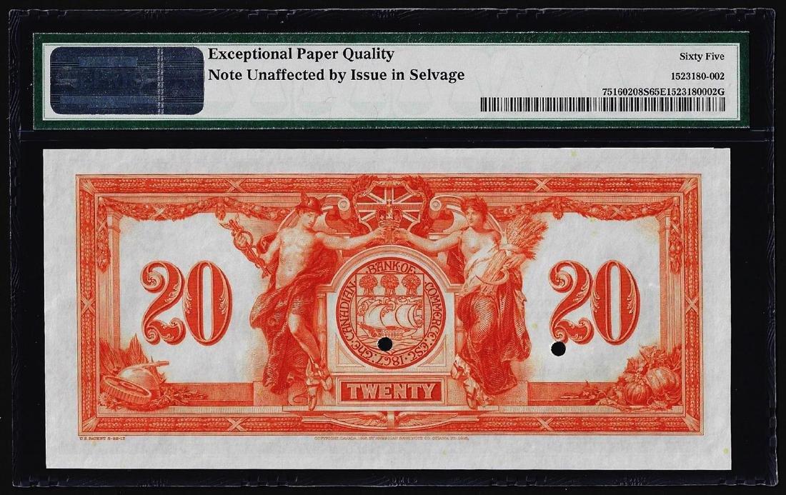 1917 $20 Canadian Bank of Commerce SPECIMEN Note PMG - 2