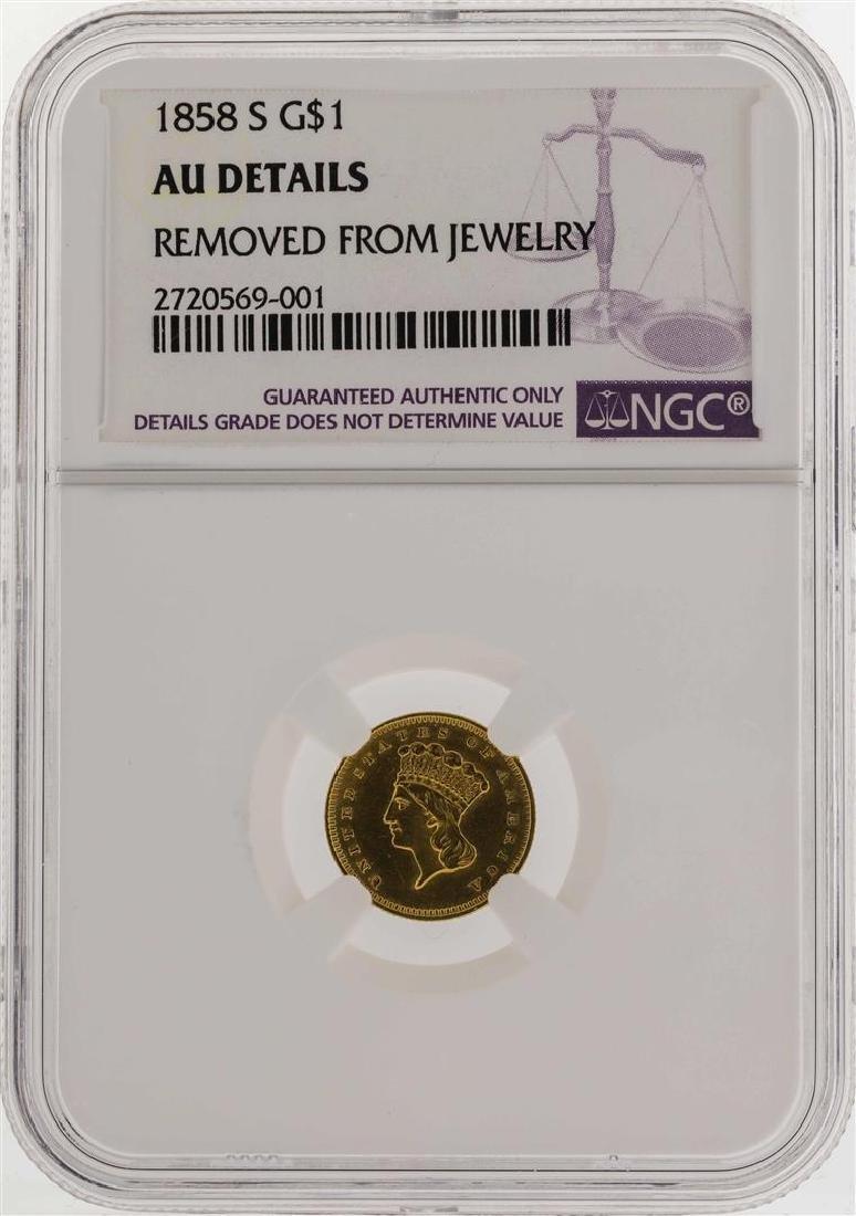 1858-S $1 Indian Princess Head Gold Dollar Coin NGC AU