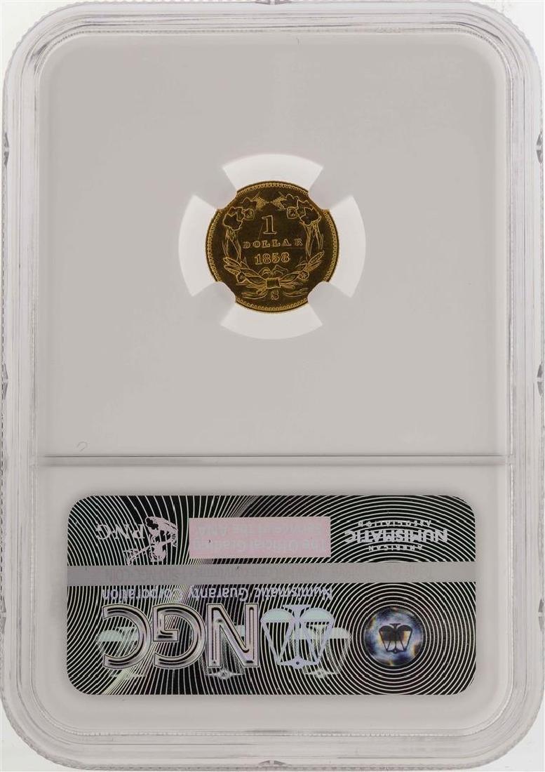 1858-S $1 Indian Princess Head Gold Dollar Coin NGC AU - 2