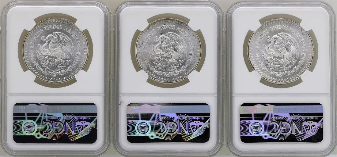 Lot of (3) 1982Mo Mexico Libertad Onza Silver Coins NGC - 2