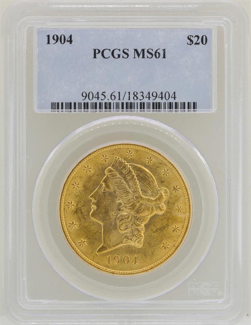 1904 $20 Liberty Head Double Eagle Gold Coin PCGS MS61