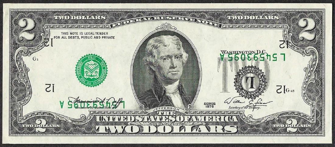 1976 $2 Federal Reserve Note ERROR Inverted Serial