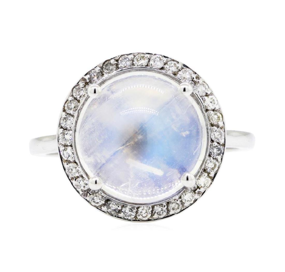 14KT White Gold 4.82 ctw Moonstone and Diamond Ring - 2