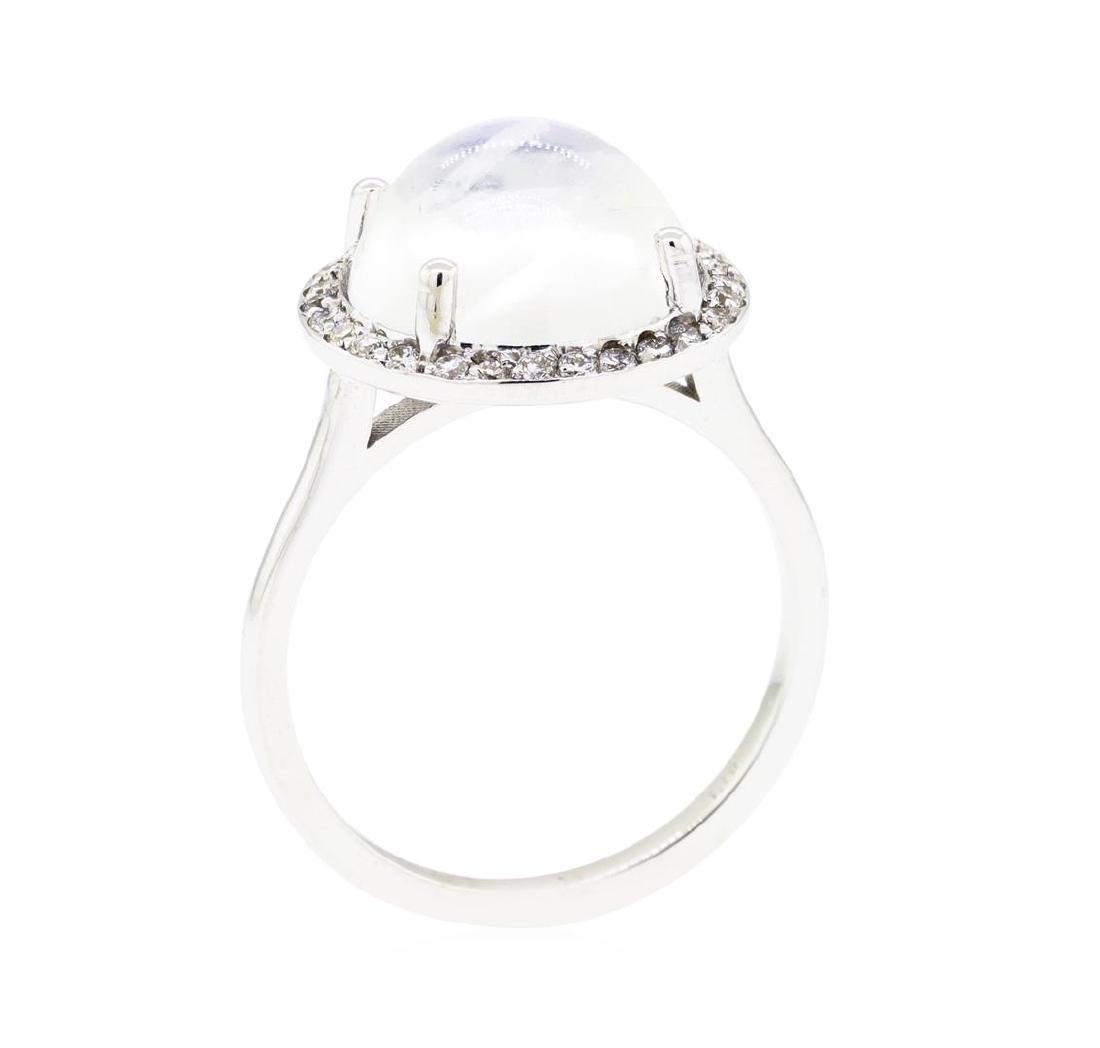 14KT White Gold 4.82 ctw Moonstone and Diamond Ring - 4