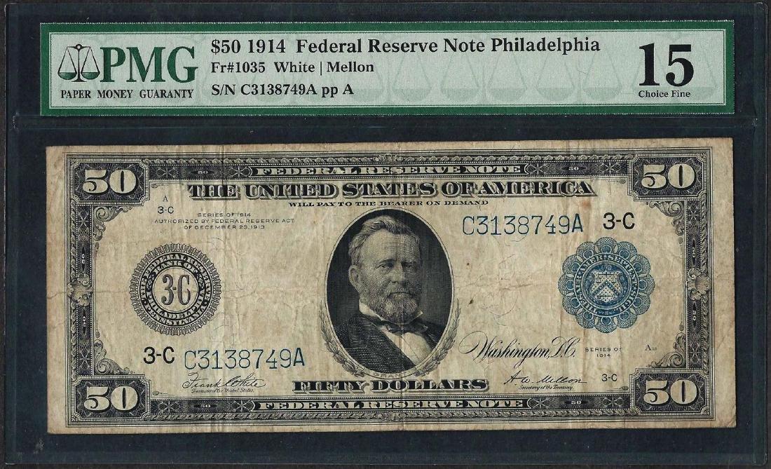 1914 $50 Federal Reserve Note Philadelphia Fr.1035 PMG