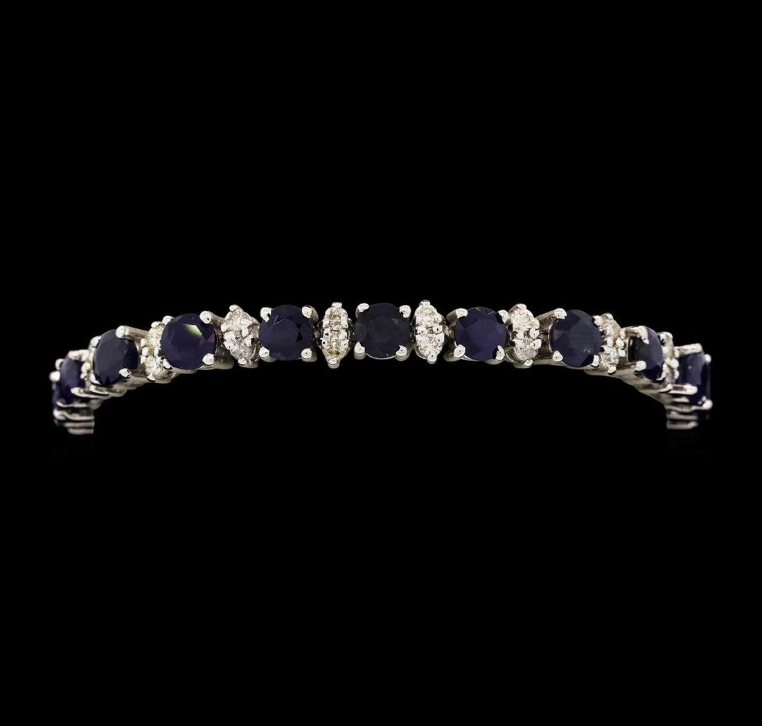 14KT White Gold 12.40 ctw Blue Sapphire and Diamond