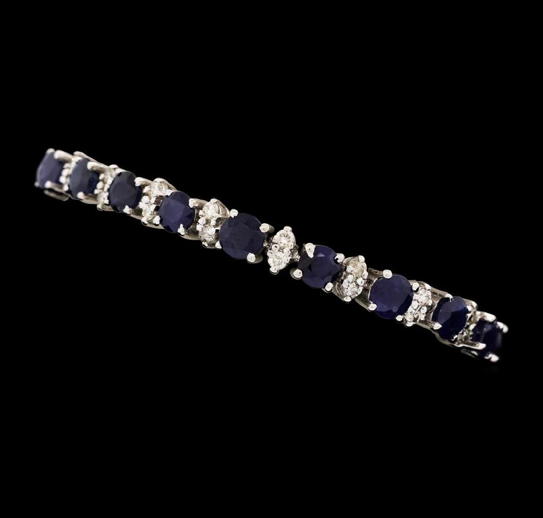 14KT White Gold 12.40 ctw Blue Sapphire and Diamond - 2