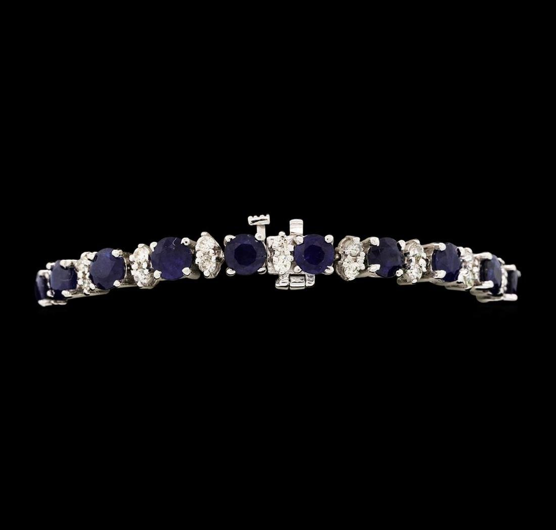 14KT White Gold 12.40 ctw Blue Sapphire and Diamond - 3