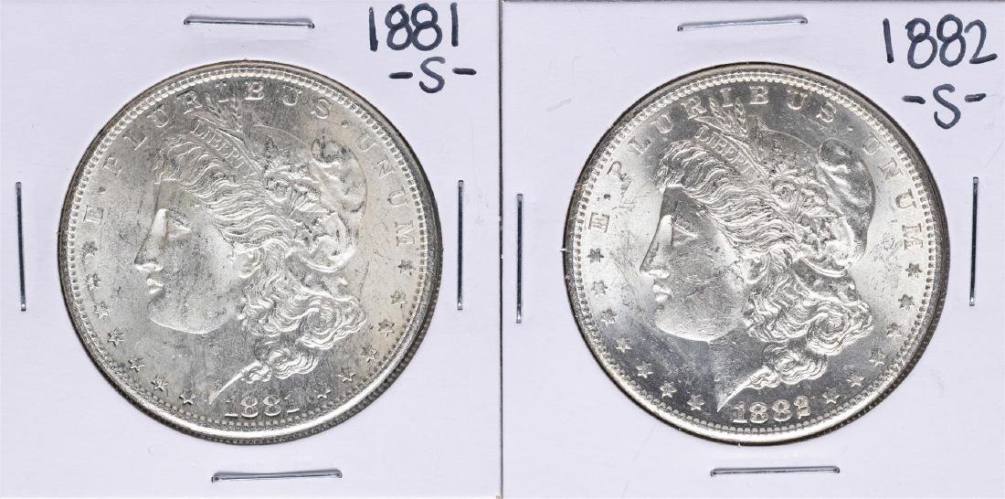 Lot of 1881-S & 1882-S $1 Morgan Silver Dollar Coins