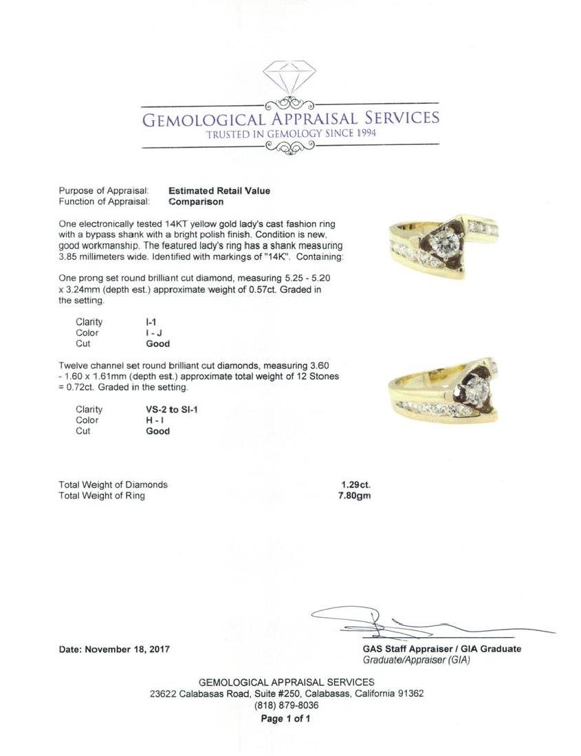 14KT Yellow Gold 1.29 ctw Diamond Ring - 5